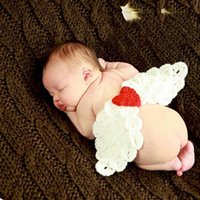 Wholesale Handmade Baby Knitted Cardigan - Wholesale-Angel Wings Heart Cartoon Multicolour Handmade Knit Crochet Props Photograph Costume Clothes For Baby Shower Newborn Boy Girl