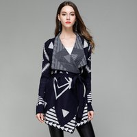 Wholesale Tie Bow Sash Belt - Autumn Women's Sweaters New Coat 2017 Winter Large Size Loose Lapel Neck Knitted Sweater Bow Tie Cardigan Long-Sleeved Jumper With Belt