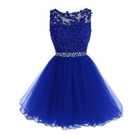 Wholesale High Neckline Beaded Dress Sheer - 2016 High Quality Short Lace Royal Blue Homecoming Dresses Sheer Bateau Neckline Sleeveless Beaded Appliques Tulle Skirt Prom Gowns Custom