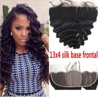 Cheap Silk Base Frontal Closure 13x4 Top Grade Virgin Brazilian Cheveux Humains Loose Wave Silk Lace Frontal Closed With Baby Hair G-EASY