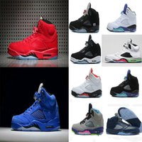 Wholesale Rose Tongue - 2017 air retro 5 V Olympic OG metallic Gold Tongue Man Basketball Shoes Black Metallic red blue Suede Fire Red Sport Sneakers