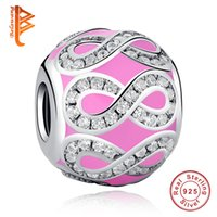Wholesale loose cz - BELAWANG 925 Sterling Silver Charm Beads with CZ Pink Enamel Infinity Charm for Women fit Pandora Charm Bracelets&Bangles DIY Jewelry Making