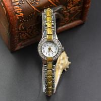 Wholesale Glass Rhinestones Blue - Fashion Chaoyada elegant Women girl crystal rhinestone exquisite Metal steel strap Bracelet wrist watch 906