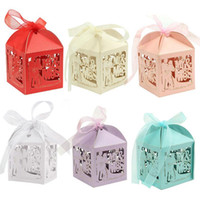 Wholesale Baby Shower Favor Box Carriage - 100Pcs set MR&MRS Laser Cut Hollow Carriage Baby Shower Favors Boxes Gifts Candy Boxes Favor Holders With Ribbon Wedding Party Favor Decor