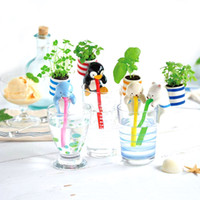 Wholesale indoor potted trees - Creative Chuppon Diy Self Watering Animal Planter Flower Pot Mini Bonsai Plant Kit With Soil Seeds Indoor Desk Decorative Plants