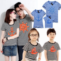 Wholesale Top Fashion Outfits For Kids - Family Look Matching Clothing Outfits Tops Short-sleeve Navy Striped T-shirt Clothes Tee For Mother Daughter And Father Son Kids