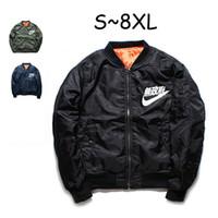 плюс размер уличной одежды оптовых-MA1 бомбардировщик куртка зимние куртки пилот анархия верхняя одежда мужчины армия зеленый Merch полета пальто уличная печатных плюс размер S-8XL HFJK004