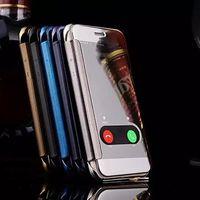 étui portefeuille transparent iphone 5s achat en gros de-Pour iphone XR XS 8 Transparent Mirror Clear View Housse en cuir Smart Case Plaqué électrolytique Portefeuille Couverture dure pour iphone 7 plus 6s 5s