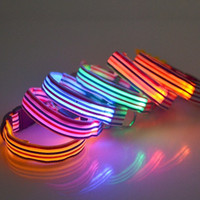 Wholesale stripe dog collar for sale - Group buy Color Stripe Dog Collars With Metal D Ring Fastener Puppy Necklet LED Light Up Flashing Pet Leashes New gr B