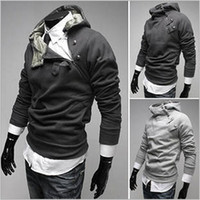Wholesale New Korea Hoodies - New Men's Hoodie monde Korea Zipper hooded Sweatshirts Rabbit Hair Collar Oblique plus size Men's Jacket Black