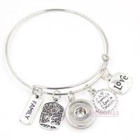 pulseras conmemorativas al por mayor-Venta al por mayor Snap Jewelry ajustable brazalete de alambre expansible Memorial Family Tree pulseras pulseras del botón a presión para el regalo de la familia
