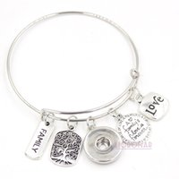 Wholesale Memorial Charms - Wholesale Snap Jewelry Adjustable Expandable Wire Bangle Memorial Family Tree Charm Bracelets Snap Button Bracelets for Family Gift