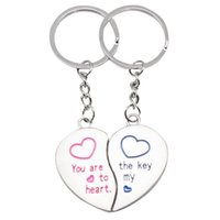 Wholesale Metal Heart Keyfob - 2pcs Heart Couple Key Chain Ring Keyring Keyfob Lover Gifts Couples Partner E00124 OSTH