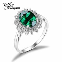 Wholesale Emerald Russian - Wholesale-Green Nano Russian Emerald Princess Diana Engagement Wedding Ring For Women Solitaire Genuine 925 Sterling Silver Fashion 2015