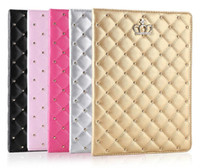 Wholesale Ipad2 Covers - Factory Price!!! For iPad mini cases ipad2 3 4 Phone pouch Rhinestone Crown rivet Smart Cover with stand shockproof Dormancy pc+pu leather