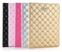 usine pour ipad achat en gros de-Prix d'usine!!! Pour iPad mini cas ipad2 3 4 poche téléphone strass rivet couronne Smart Cover avec support antichoc Dormancy pc + cuir pu