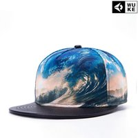 Wholesale Waves Flat Brim Hat - Hip Hop 3D Printed Sea Wave Baseball Hats Adult Caps Flat-brimmed Hat Casual Style DHL Free Shipping