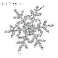 LA PASION Brand Snowflake Brooch Women Snowflake Full of Zircon Rhodium Plated Wedding Brooch Pins Factory Wholesale Бесплатная доставка