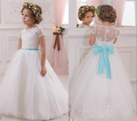 Wholesale Turquoise Ball Gowns Sleeves - 2017 Lovely White Flower Girls Dresses for Weddings with Turquoise Bow Sash Princess Ball Gown Lace Kids Wedding Dress