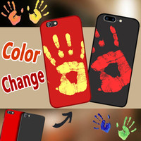 Wholesale temperature color change plastic - Thermosensitive Color Change Case Magical PU Fingerprint Back Cover Temperature Sensing Thermal Sensor Heat Shell For iPhone X 8 7 plus 6 6S
