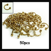 Wholesale 50pcs multi use nose rings stainless steel x10x3mm gold body piercing jewelry for men women eyebrow pircing