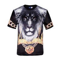 Discount lion king t shirt - tshirt Classic Fashion T-shirt men tops short sleeve 3d print animals gold medal lion king glossy rayon t-shirt