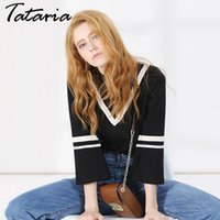 Wholesale Moda Casual Mujer - Top Female Striped Top Tees Loose Style Long Sleeve O Neck Clothing For Women Causal T-Shirts poleras de mujer moda garemary 011