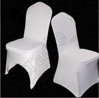 weiße klappstühle für hochzeiten großhandel-200 stücke CCA4085 Hohe Qualität Universal Weiß Polyester Spandex Hochzeit Stuhlhussen Für Hochzeiten Bankett Klapp Hotel Dekoration Stuhlabdeckung