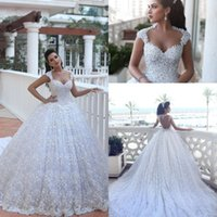 Wholesale Cathedral Train Flower - Said Mhamad Cathedral Train Luxury Wedding Dresses Ball Gowns Arabic Dubai Vestido De Novia with Beads 3D Floral Flowers Bridal Gowns