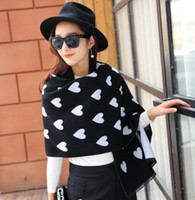 Wholesale Scarf Two Sides - Autumn and winter warmer love heart print long Scarves Wraps scarf designer two-sided jacquard cashmere shawl Infinity fashion Lady Shawl