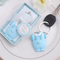 Métal en plastique Cute-As-Can-Be Porte-clés Baby Shower Favors Cadeaux Fête d'anniversaire Blue Pink Girl 100pcs / lot