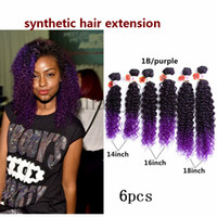 Wholesale Blonde Synthetic Weave - 6pcs lot Women Full Head Black To Blonde Ombre Curly Hair Weaving Synthetic Hair Extensions jerry kinky curly hair weaves 16-20inch