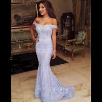 Wholesale Fashion Trend Evening - Custom Made New Trend 2016 Elegant Off Shoulder Mermaid Evening Gowns Lace Long Evening Party Dresses V Neck Prom Dresses