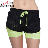Großhandel-Womens Running Shorts 2 In 1 Running Strumpfhosen Short 2016 Frauen Gym Cool Damen Sport Kurze Fitness Running Shorts