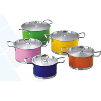 Wholesale 10 Cookware Set Kitchen Color Pots and Pans Set Quality Stainless Steel cm Stock SetTirclad Bottom Stainless Steel Cover