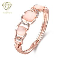 Wholesale Gold Plated Jewellery For Sale - Jewellery Shop Hot Sale Square Pink Opal Bracelets Rose Gold Plated Hollow Crystal Cubic Zirconia Bangles for Women Wholesale