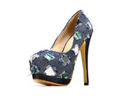 zapatos tacones altos plataforma azul al por mayor-Nueva marca de mezclilla de las mujeres bombas de tacones altos zapatos mujer plataforma sudoración 2016 moda popular casual azul vaquera