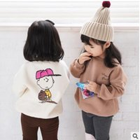 Wholesale Family Sweatshirts - Family sweatshirt Winter Girls mother velvet embroidery letters pullovers father son cartoon printed tops family fashion clothing C2465