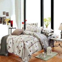 Wholesale Cheap Flat Cotton Sheets - cheap cotton fabric mother bedding set 4-5pc duvet quilt cover flat sheet pillow sham full queen chocolate Hand painting floral