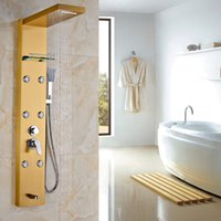 Wholesale Gold Faucet Bath - Gold-plated Wall Mounted Bath & Shower Faucet with Shelf ABS Handshower Hot and Cold Water Shower Panels