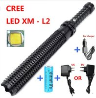 Wholesale Led Flashlight Diving Rechargeable - New Arrival Powerful led flashlight 18650 CREE XM L2 self defense Patrol LED rechargeable flash light