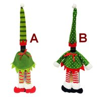 Wholesale Wholesale Wine Christmas Ornaments - Christmas Doll props gift bags Red wine bottle bag ornaments Decorations Festive & Party Supplies Kitchen Dinner Party Decorations goods