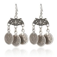 Wholesale-Antique Ox Silver Gypsy Hippie Three Coin Charms Retro Vintage Bohemian Dangle Boucles d'oreilles pour femme Boho Jewelry