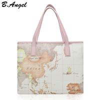 sacos de marca do mapa venda por atacado-Alta qualidade mapa do mundo da moda mulheres grande sacola especial bolsa de marca bolsa de grife saco de ombro ocasional HC-W-878