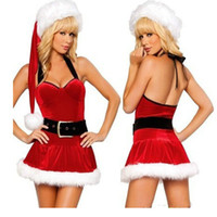 Wholesale Sexy Girl Santa - Sexy Santa Claus Costumes Women Red Halter Dress Girl Holiday Christmas Party Carnival Stage Cosplay Dress