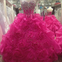 Wholesale Quinceanera Dress Hot Pink - Real Picture Rose Ruffled Organza Quinceanera Dresses New Arrival Hot With Beaded Sweetheart Neck Sleeveless Off the shoulder Ball Gowns