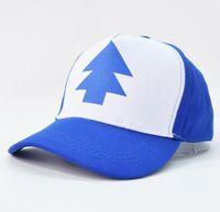 Wholesale Pine Tree Prints - 2017 Fashion Gravity Falls Baseball Cap BLUE PINE TREE Hat Cartoon Trucker Snapback Cap New Curved Bill Dipper Adult Men Dad Hat