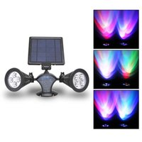 Wholesale Double Spotlights - 8 LED Chroma Solar Light LED Lamp Outdoor Garden Double Rotation Spotlights day night sensor Light for outdoor gardens yards lawns