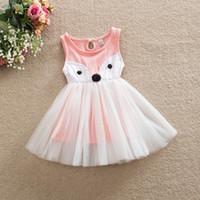 Wholesale Cartoon Chinese Dresses - Baby girl's Sleeveless cartoon fox Princess Dress summer girl dresses hand-made children tutu skirts