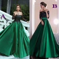 Wholesale Long Green Satin Dress - Hunter Green Satin Lace Long Arabic Dubai Formal Evening Dresses 2017 Modest Off Shoulders Long Sleeves Prom Party Gowns Celebrity Dresses